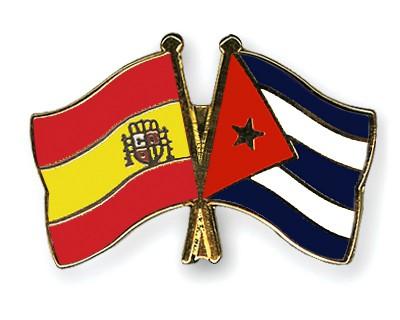 Crossed Flag Pins Spain-Cuba
