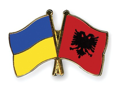 Crossed Flag Pins Ukraine-Albania