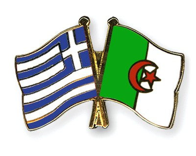 Crossed Flag Pins Greece-Algeria