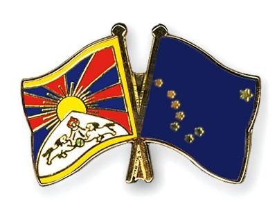 Crossed Flag Pins Tibet-Alaska