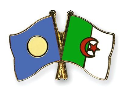 Crossed Flag Pins Palau-Algeria
