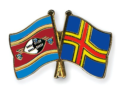 Crossed Flag Pins Swaziland-Aland