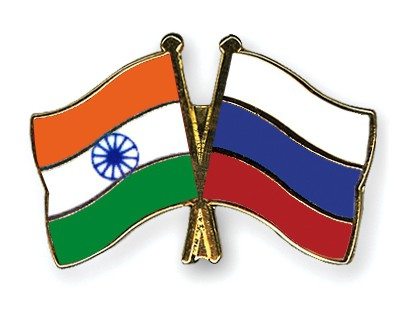 Crossed Flag Pins India-Russia