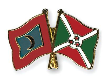 Crossed Flag Pins Maldives-Burundi