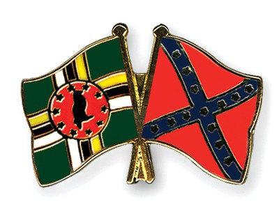 Crossed Flag Pins Dominica-Confederate-battle