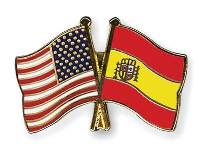 Crossed Flag Pins USA-Spain