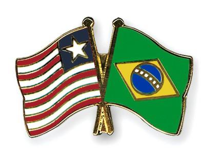 Crossed Flag Pins Liberia-Brazil