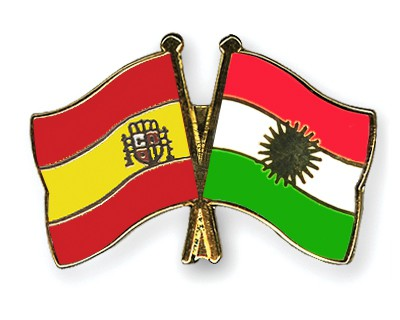 Crossed Flag Pins Spain-Kurdistan