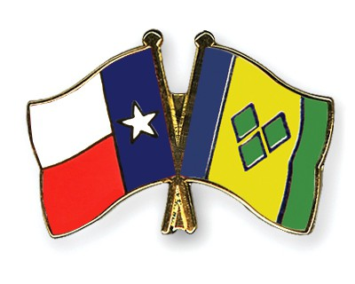 Crossed Flag Pins Texas-Saint-Vincent-and-the-Grenadines