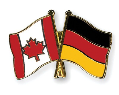 Special Offer Crossed Flag Pins Canada-Germany
