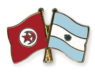 Crossed Flag Pins Tunisia-Argentina