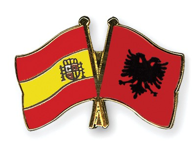 Crossed Flag Pins Spain-Albania