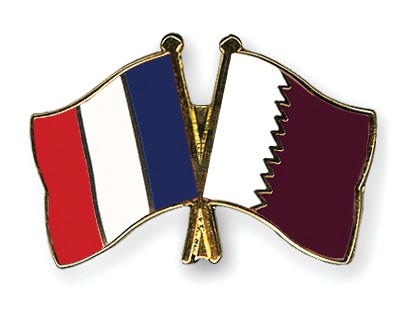 Special Offer Crossed Flag Pins France-Qatar