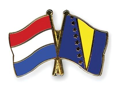 Special Offer Crossed Flag Pins Netherlands-Bosnia-and-Herzegovina