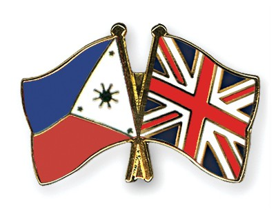 Crossed Flag Pins Philippines-Great-Britain