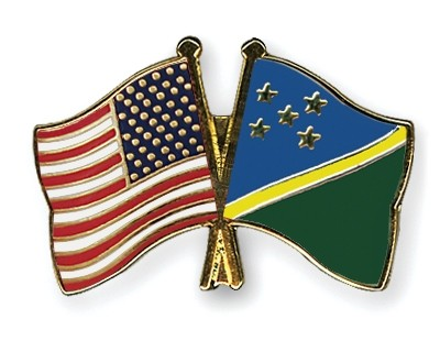Special Offer Crossed Flag Pins USA-Solomon Inslands