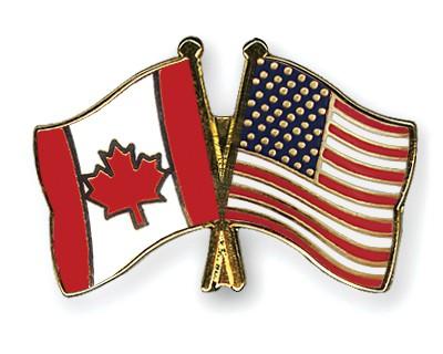 Crossed Flag Pins Canada-USA