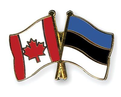 Special Offer Crossed Flag Pins Canada-Estonia