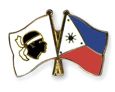 Crossed Flag Pins Corsica-Philippines