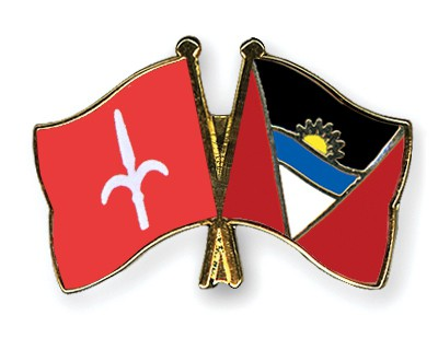 Crossed Flag Pins Trieste-Antigua-and-Barbuda