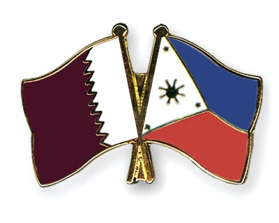 Special Offer Crossed Flag Pins Qatar-Philippines