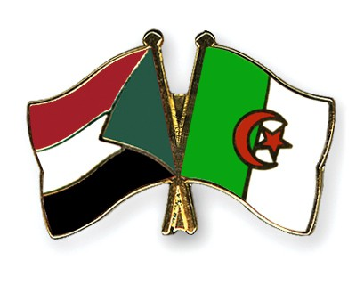Crossed Flag Pins Sudan-Algeria
