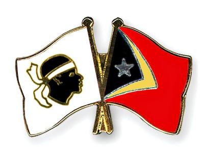 Crossed Flag Pins Corsica-Timor-Leste