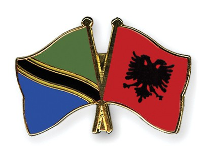 Crossed Flag Pins Tanzania-Albania