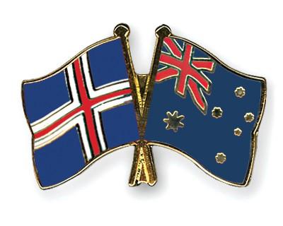 Crossed Flag Pins Iceland-Australia