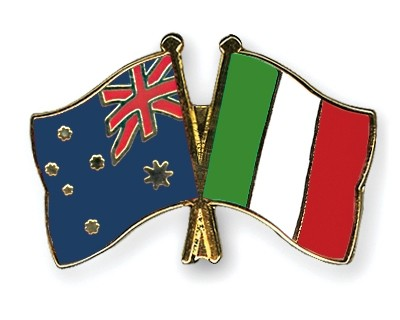 Special Offer Crossed Flag Pins Australia-Italy