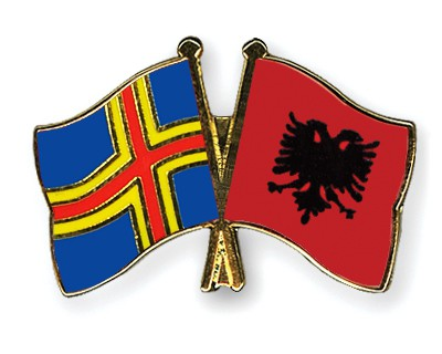 Crossed Flag Pins Aland-Albania