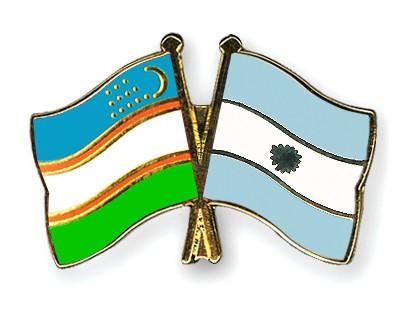 Crossed Flag Pins Uzbekistan-Argentina