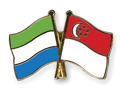 Crossed Flag Pins Sierra-Leone-Singapore