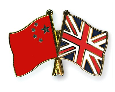 Crossed Flag Pins China-Great-Britain