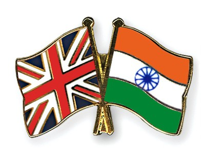 Crossed Flag Pins Great-Britain-India