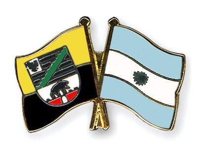 Crossed Flag Pins Saxony-Anhalt-Argentina