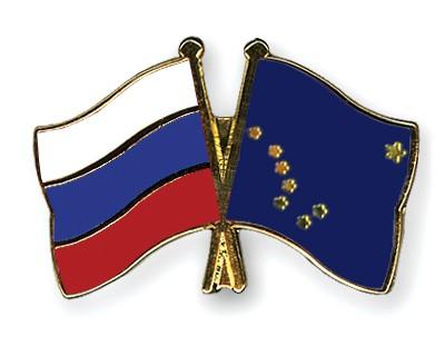 Crossed Flag Pins Russia-Alaska