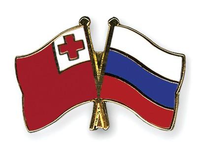Crossed Flag Pins Tonga-Russia