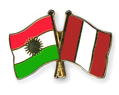 Crossed Flag Pins Kurdistan-Peru