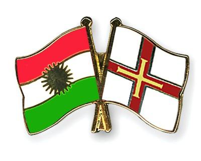 Crossed Flag Pins Kurdistan-Guernsey