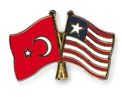Crossed Flag Pins Turkey-Liberia