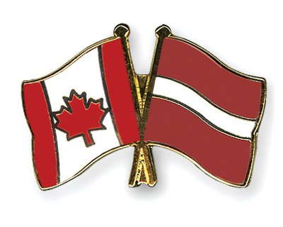 Special Offer Crossed Flag Pins Canada-Latvia