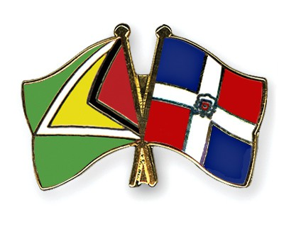 Crossed Flag Pins Guyana-Dominican-Republic