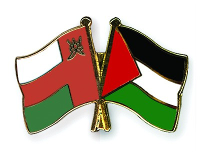 Crossed Flag Pins Oman-Palestine