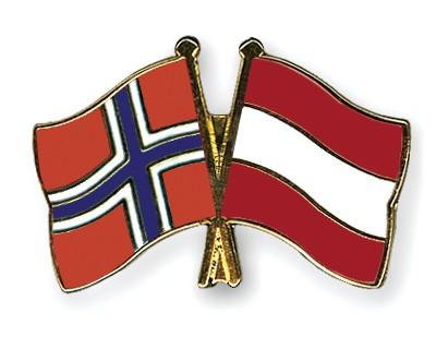 Crossed Flag Pins Norway-Austria