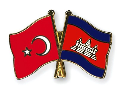 Crossed Flag Pins Turkey-Cambodia