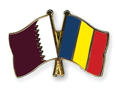 Special Offer Crossed Flag Pins Qatar-Romania