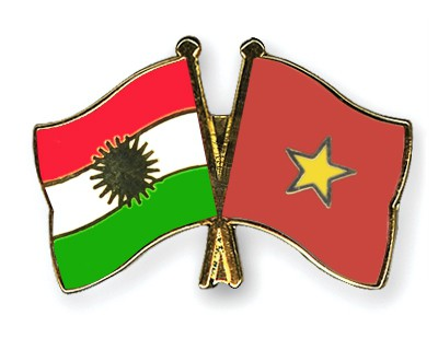 Crossed Flag Pins Kurdistan-Vietnam
