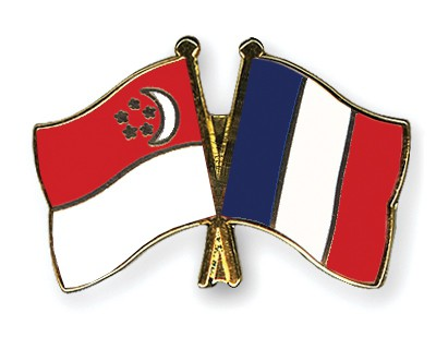 Crossed Flag Pins Singapore-France