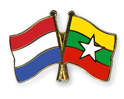Special Offer Crossed Flag Pins Netherlands-Myanmar